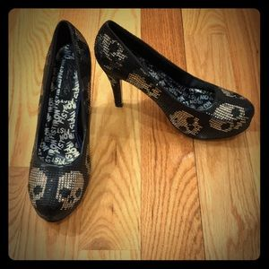 Iron Fist Black Punk Sequined Skull Platform Heels
